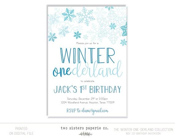 Winter Onederland Birthday Invitation Boy First Birthday Etsy