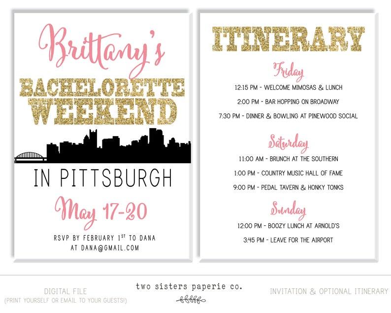 Pittsburgh Bachelorette Invitation PITTSBURGH Bachelorette Party Invitation and Itinerary Pittsburgh Itinerary Printable Invitation