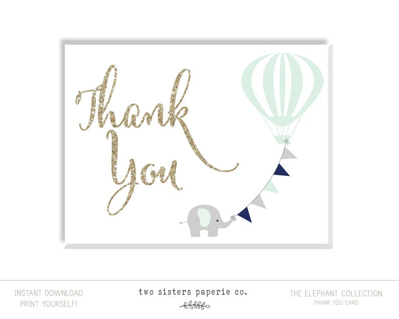 picture regarding Thank You Printable Cards named Printable Thank Yourself Card - Elephant Little one Shower - Boy or girl Shower Thank Oneself - Printable Card