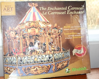 Enchanted Musical Carousel Wrebbit Built Art Collection 17 X Horses Music Kit Cardboard Craft 3 Dimensional