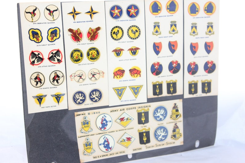 1940's Poster Stamp Press / Jaco-Lac WW II Naval Aviation Insignia Decals  --6 Sheets -- Aviation, Plane, Model, Air Corps, Airplane
