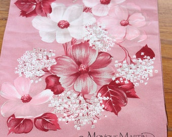 """Pretty In Pink Monique Martin Rectangular Neck Scarf -- 10.5"""" x 54"""" -- Pink, Peony, Flower, Floral, Mum , Polyester, Fashion, Accessory"""