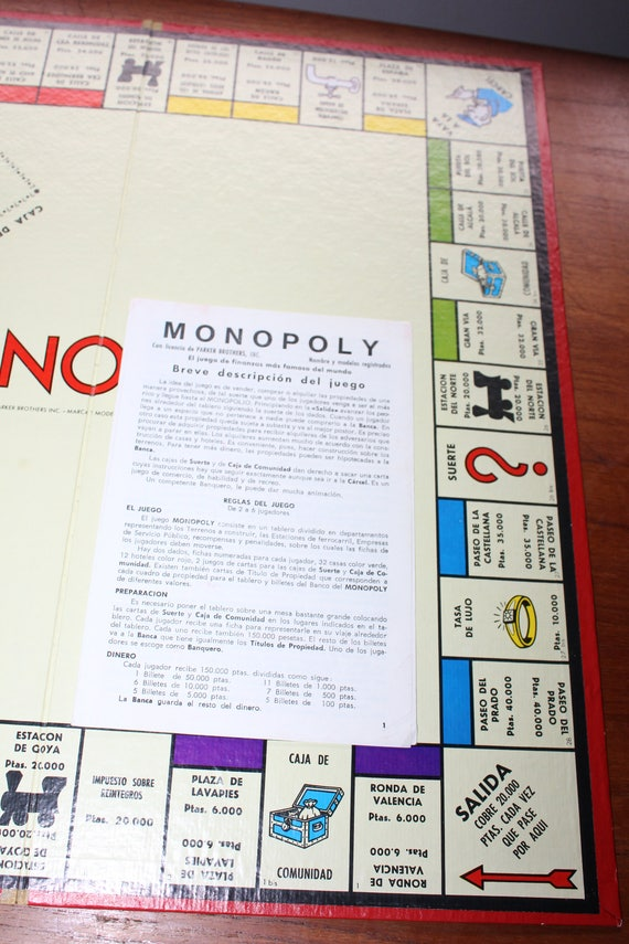 1960s Spanish Monopoly Game Board And Game Instructions Etsy