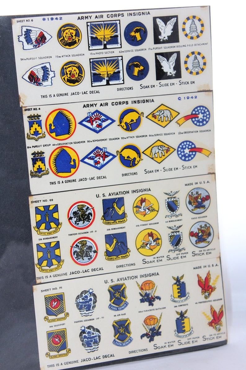1940's Jaco-Lac WW II Army Navy Aviation Insignia Decals -- Four Sheets --  Aviation, Plane, Model, Jacolac, Airplane, History