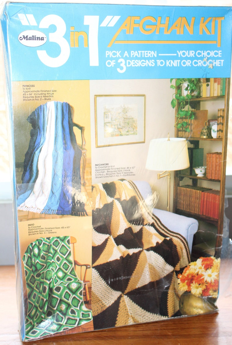 Vintage Malina Knitted or Crochet Afghan Kit -- Choice of 3 Designs --  Green Theme -- Patchwork, Knitting, Crochet -- 46