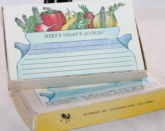 Here's What's Cooking Recipe Cards -- Current -- 26 Cards with Box -- Recipes, Cooking, Stationery