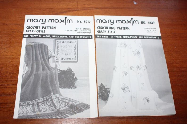 Five Mary Maxim Afghan Knitting / Crochet Patterns -- Two Knitting, Two  Crochet Graph, One Crochet Ripple -- Knitting, Crocheting