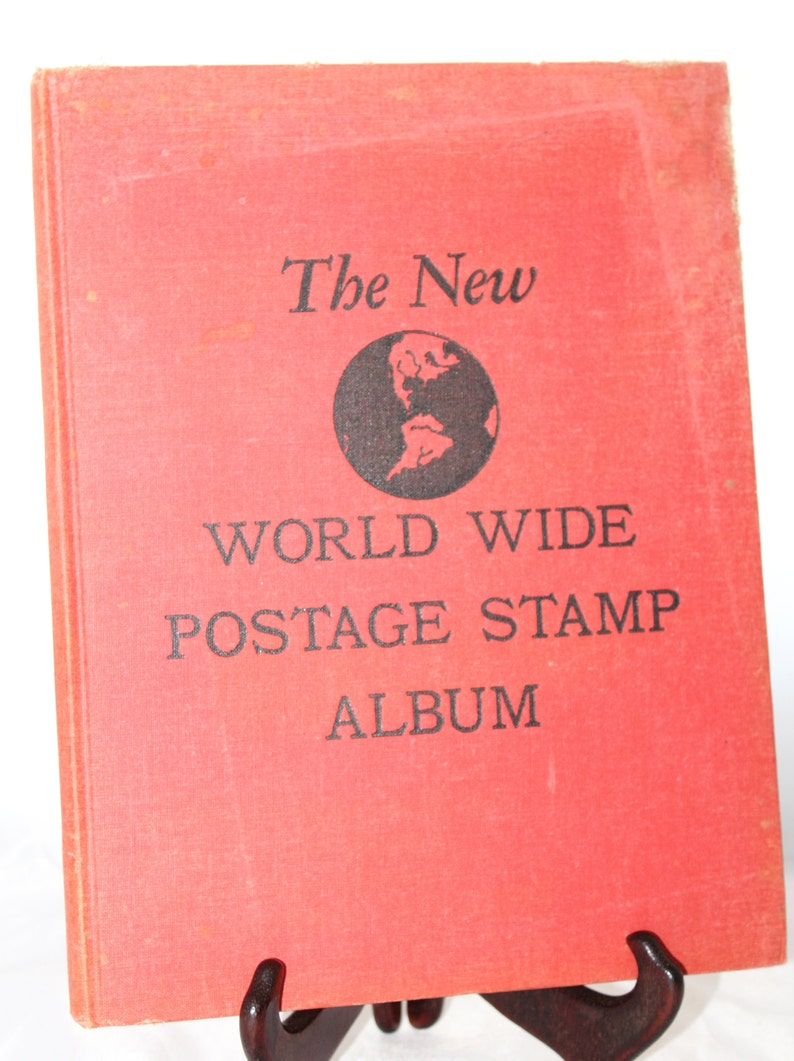 1950's The New World Wide Postage Stamp Album -- Minkus Publications --  Illustrations, New American Catalog, Stamp Collecting
