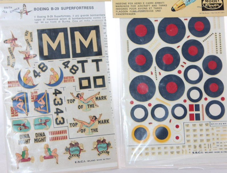 Boeing B-29 Superfortress & Spitfire Mk 1 Decal Sets -- Model Power / ESCI  -- Model, Kit, Plane, Airplane, WW II, Italy, Decals