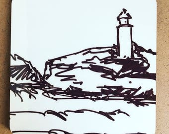 Cork backed coaster with Godrevy lighthouse design from original artwork