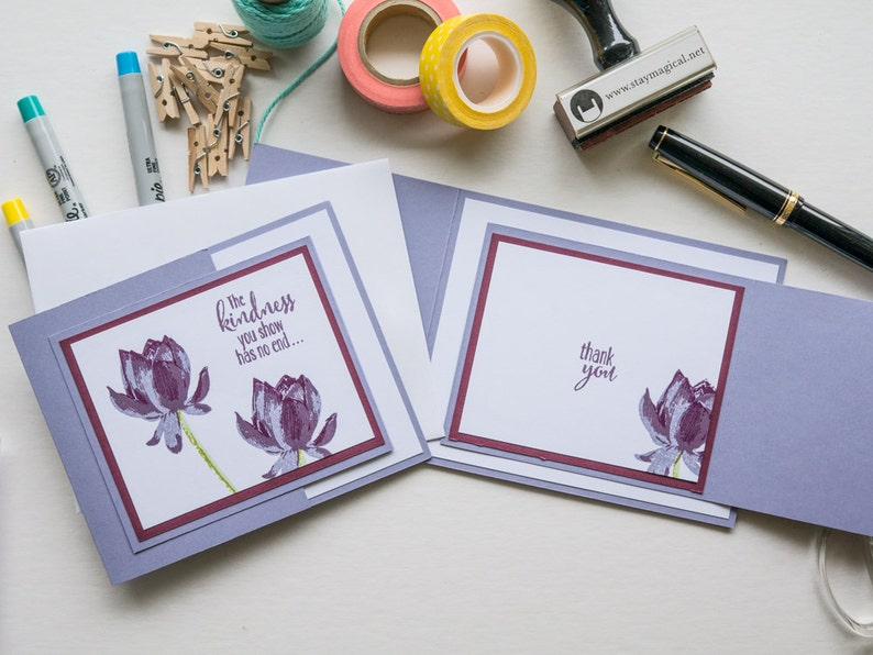 Purple Trifold Thank You Cards Handmade Stampin Up Greeting image 0