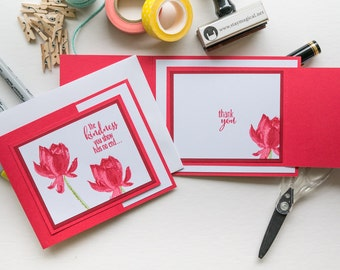 Red Trifold Thank You Cards, Handmade Stampin Up Greeting Card