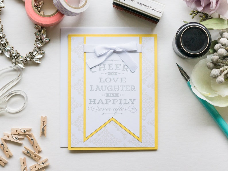 Yellow Large Banner Congratulations Card Handmade Greeting image 0
