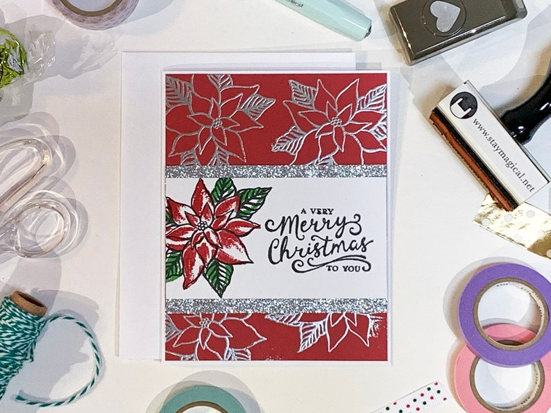 Red and Silver Poinsettia Christmas Card image 0