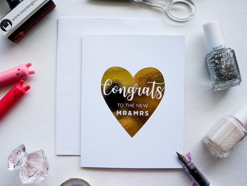 Congrats to the new Mrs & Mrs Gold Foil Card image 0