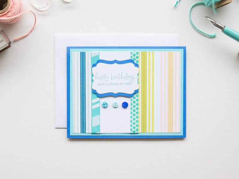 Blue Stripe Birthday Card Handmade Greeting Cards image 0