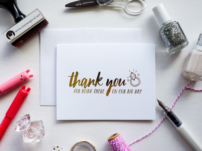 Thank You for Being There on Our Big Day Gold Foil Card image 0
