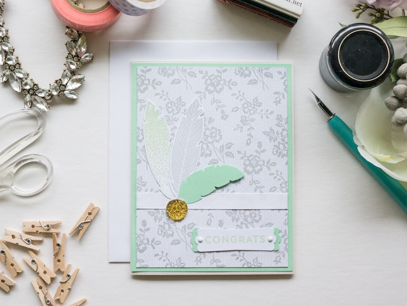 Light Green Feathers Congratulations Card Handmade Stampin Up image 0