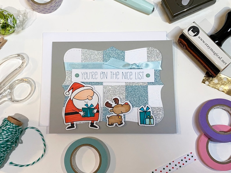 You're on the Nice List Grey Christmas Card image 0