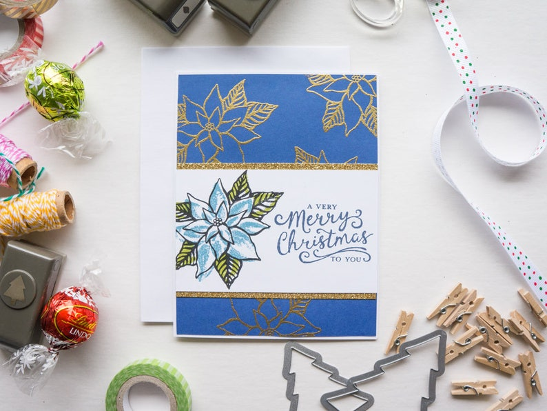 Blue and Gold Poinsettia Christmas Card image 0
