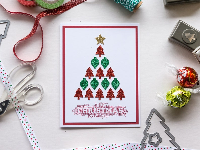 Glittery Christmas Tree Card Handmade Stampin Up Greeting image 0