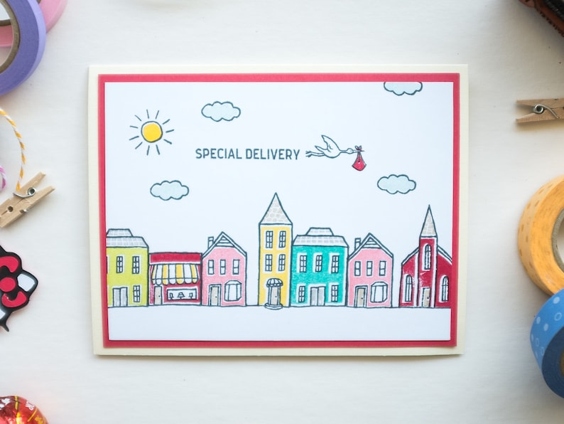 Special Stork Delivery Baby Congratulations Card Newborn image 0