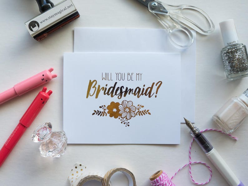Will You Be My Bridesmaid Gold Foil Floral Card  hand foiled image 0