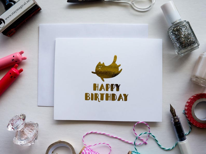 Fat Cat Happy Birthday Gold Foil Card image 0
