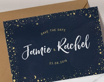 Starry Night Save the Date, Sky, Written in the Stars, Constellation, Navy & Gold, Shooting Stars, Printed Card, Wedding, Celestial