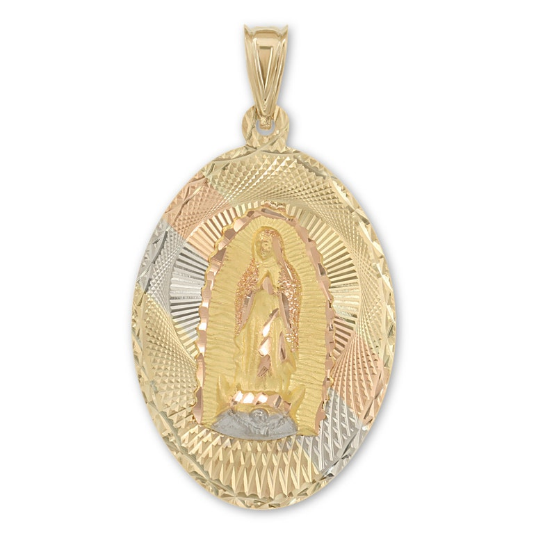 14k Tri Color Gold Religious Guadalupe Pendant Charm