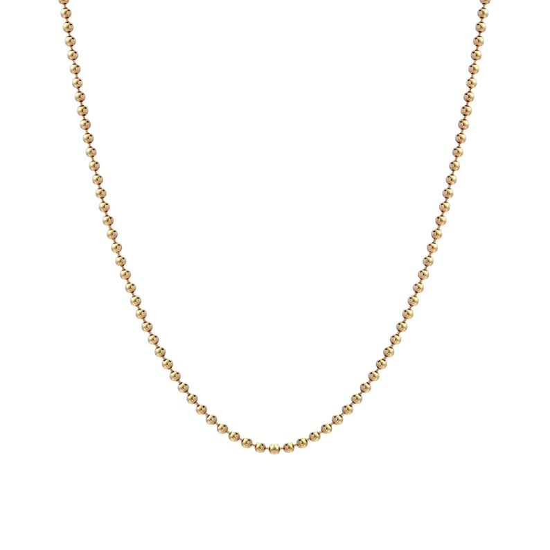 14K Yellow Gold 1.50mm Bead Chain Necklace Extender Safety Chain