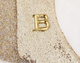 "Christmas Gold Glitter Flakes Letter F Ornament 4.50"" New"