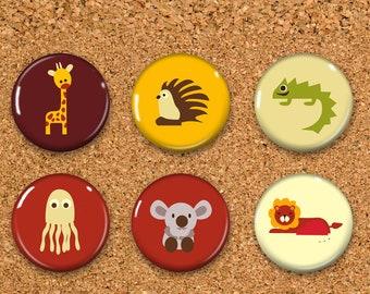 "Giraffe Thumbtacks, Hedgehog Push Pins, Lizard Magnets, 6 thumbtacks for corkboard, 6 Magnets for Magnetic Whiteboards or fridge 1"""