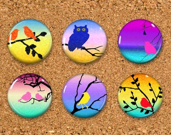 "Bird Thumbtacks, owl Push Pins, Sunset Magnets, 6 thumbtacks for corkboard, 6 Magnets for Magnetic Whiteboards or fridge 1"" size"