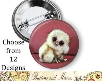 "Baby Animals Owl (12 choices) 1.25"" or Larger Pinback Button, Flatback or Fridge Magnet, Badge, Pocket Mirror, Keychain, Pin, elephant"