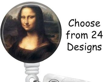 Leonardo DaVinci Badge Reel, Medical Badge Reel, ID Badge Holder, Retractable clip, Painting badge reel, Mona Lisa Badge Reel,  Jesus Badge
