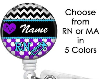 Cardiac Nurse RN or MA Badge Reel Personalized Name (10 Choices), Medical Badge Reel, ID Badge Holder clip, Heart, heartbeat, cardiology