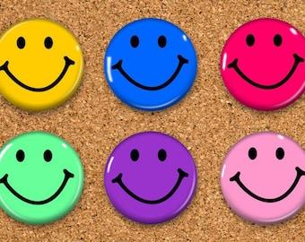 "Smiley Face Thumbtacks, Push Pins, Smiley Face Magnets, 6 thumbtacks for corkboard, 6 Magnets for Magnetic Whiteboards or fridge 1"" size"