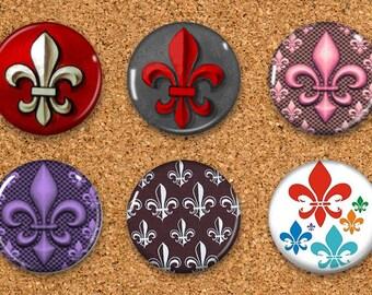 """Fleur de lis Thumbtacks, Push Pins, Fleur de lis Magnets, 6 thumbtacks for corkboard, 6 Magnets for Magnetic Whiteboards or fridge 1"""" size"""