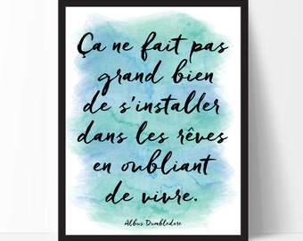 Harry Potter, Watercolor Poster, Citation Inspirante, Cadre, French Quote, French Print, Inspirational Quote, Typography Print, TF3-2
