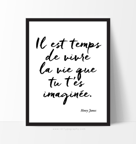 Cadre Citation Inspirante Typography Print French Quotes Etsy