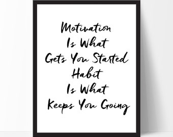 Typography Print, Typography Wall Art, Motivation is... Inspirational Quote, Motivational Print, Wall Art, Home Decor, Birthday, Christmas