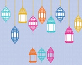 Colorful Lantern Clipart- Moroccan Clip Art- Eastern Birthday Invitation Party Scrapbook Morocco Turkey Printable Paper Card Decoration East