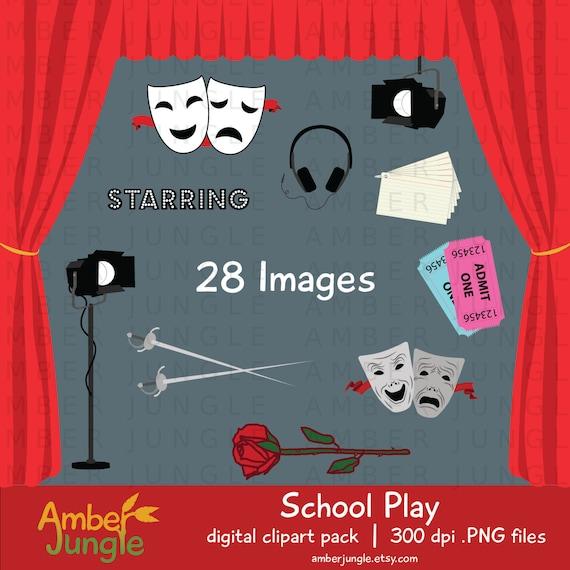 School Play Clipart Theater Theatre Rehearsal Clip Art Etsy