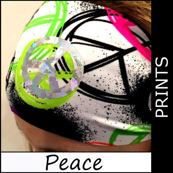 Peace Peace Headbands Wide Sports Workouts Fashion Stretch Adults Youth