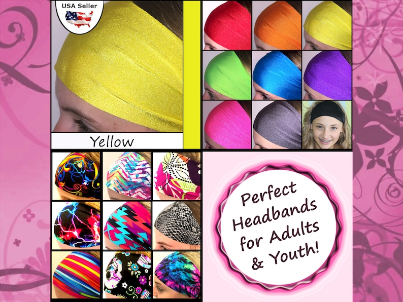 Hair Band Athletic Wide Fashionable Sports Gym Workout Teams Colorful Yellow