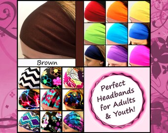 Running Jogging Track Headbands Wick Sweat Stay On Various Colors [Brown]