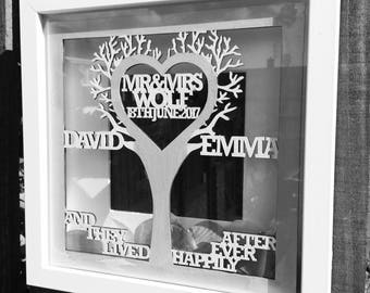 Wedding 'And they lived happily ever after' Laser cut TREE plaque.