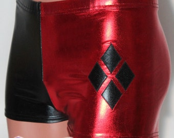 d15731b868d9f Harley Quinn style Shorts in Metallic Foil Black and Red coated Spandex by  Suzi Fox