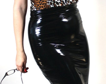 6a8748cd41a Pencil Skirt in Gloss Stretch PVC Vinyl